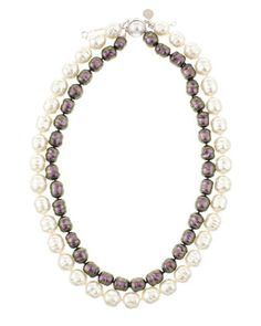 Two-Row Baroque Pearl Necklace by Majorica at Last Call by Neiman Marcus.