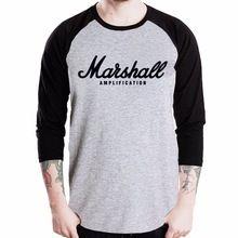 Marshall versterker gitaarversterker logo t-shirt rock band muziek honkbal jersey t- shirt 3/4 mouw heren raglan tee(China)