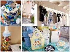 Baby showers: onisies hanging on rope with clip un backgrnd Baby Shower Fun, Baby Shower Parties, Baby Shower Gifts, Shower Party, T Baby, Baby Kids, Diy Party, Party Gifts, Partying Hard