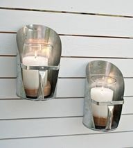 feed scoops from a farm-supply store turned into candle sconces
