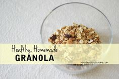 Click here for the recipe for healthy, low sugar, whole food granola. http://www.onpurposehome.com/2014/11/03/healthy-homemade-granola/