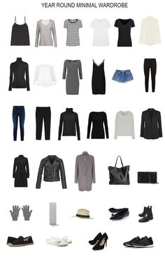 A minimalist capsule wardrobe for the entire year. How I built a minimal 32 piece wardrobe that serves me all year. I talk about my capsule wardrobe a lot. In this post I wanted to share the entire contents of my year round minimal wardrobe with you. Capsule Outfits, Fashion Capsule, Fashion Outfits, Womens Fashion, Fashion Trends, Travel Outfits, Petite Fashion, Curvy Fashion, Work Outfits