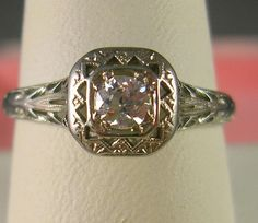1920s Antique Diamond Ring 18K WG Size 825 by estatejewelryshop, $675.00.  Wouldnt mind this.  So elegant!