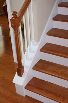 Painted Risers And Spindles, Varnished Newel, Treads And Handrail. Stairs  Hallway