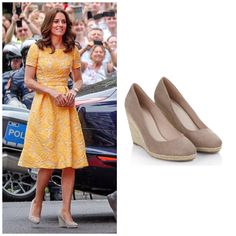 Kate in yellow brocade day dress and Stuart Weizmann corkswoon wedges