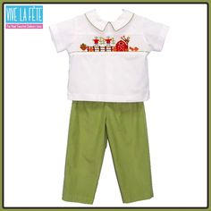 NEW ARRIVAL! Farm Smocked Boys Pull on Pant Set!