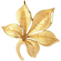 Susan Caplan Vintage 1960s Trifari Textured Leaf Brooch, Gold (28 KWD) ❤ liked on Polyvore featuring jewelry, brooches, flowers, jewerly/brooches, gold jewellery, gold flower brooch, flower brooch, leaf brooch and vintage jewelry