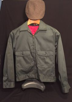 Vintage Lee Chetopa Twill Work Jacket Green With Red Liner Made In USA  size 36