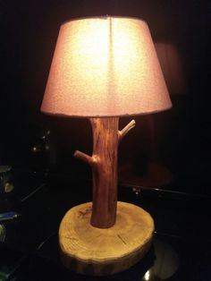 Wood lamp, oak + apple tree, woodworking