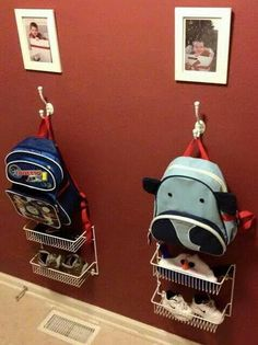 Schoolbag, shoes and hat/gloves storage space for each kid. Smart!