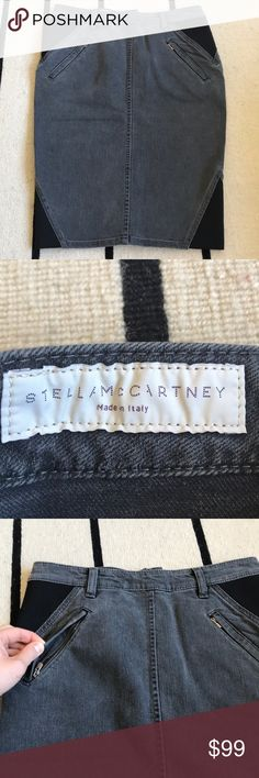 """Stella McCartney Denim Skirt Stretchy grey denim skirt with black elastic panels. Bunch of zippers in the front and back. Length 21"""", waist 14.5"""". Worn just once, great condition. Has a little snag in the elastic(pic 6),no other flaws. High quality,made in Italy Stella McCartney Skirts"""