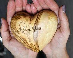 Olive wood heart   Etsy
