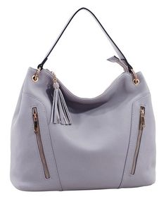 Another great find on #zulily! Light Gray Double-Zip Tassel Hobo #zulilyfinds