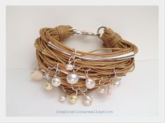 DIY cord, tubes and pearls bracelet