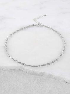 Metallic Chain Choker Necklace SILVER