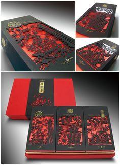 天仁喫茶賞 (Ten Ren Cha for Tea Gift Box)  由台灣三峽老街圓孔蓋上的圖騰發想,藉由中國傳統剪紙藝術的表現手法,與台灣三個著名產茶區域~南投凍頂、嘉義阿里山及台北三峽的在地特色與茶文化元 素相結合,將台灣茶文化產業特色做最精采、最深刻的文化傳遞。