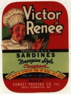 25 Victor Renne Sardine Can Labels  Great for All by OnlineVintage, $3.75