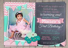 Printable Download / DIY First Birthday Invite Girl / Pink and Aqua Cupcake 1st Birthday Invitation - $10 -