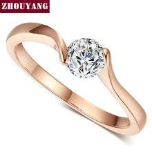 Top Quality Concise Crystal Ring  Rose Gold Plated  Austrian Crystals Full Sizes Wholesale ZYR239 ZYR422(China (Mainland))