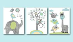 Blue Grey Green Yellow Owl Elephant Giraffe Decor Canvas Nursery Print Baby Boy Wall Decor Kids Room Decor Kids Art Kids Wall Art Set of 3