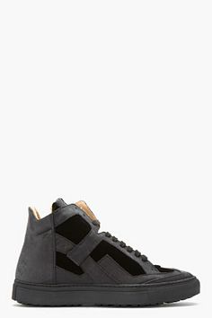MM6 MAISON MARTIN MARGIELA Black Leather & Velvet Sneakers