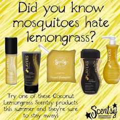 Keep mosquitoes away this summer with Scentsy's coconut lemongrass products. https://leahhoffman.scentsy.us/