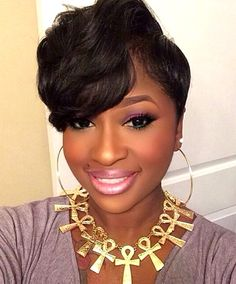 50 Gorgeous Short Black Hairstyles For Womens Best Short Hairstyles for African American Women Short Black Hairstyles, Hairstyles With Bangs, Short Hair Cuts, Short Hair Styles, Natural Hair Styles, Weave Hairstyles, Short Wavy, Curly Haircuts, Trendy Hairstyles
