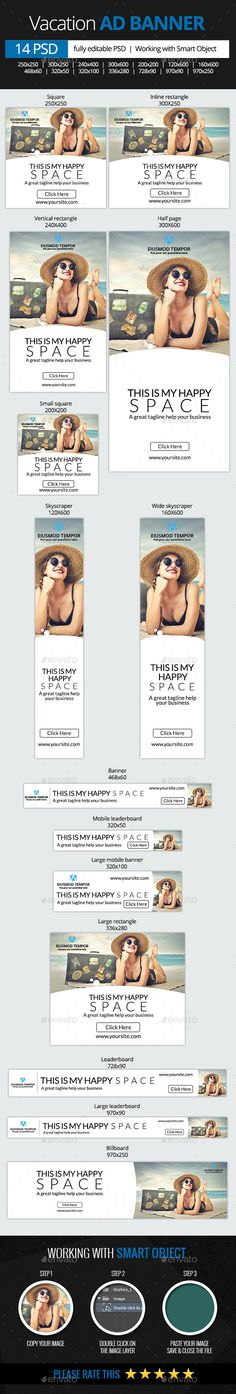 Vacation web banners Template PSD | Buy and Download: http://graphicriver.net/item/vacation-web-banners/9935616?ref=ksioks