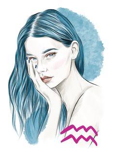 horoscope illustrations - KK magazine, Norway on Behance Aquarius Pisces Cusp, Age Of Aquarius, Zodiac Signs Aquarius, Zodiac Art, Aquarius Images, Aquarius Aesthetic, Digital Art Girl, Manga Art, Female Art