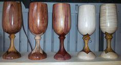 Wood goblets by Anarque Woodworks Bubinga/Thinwin, Bubingga/Ambrosia Maple, Cedar/Red Heart, Maple/Thinwin, Curly Maple/Bocote.
