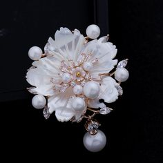 Cheap brooch retro, Buy Quality pin brooch shop directly from China brooch jewelry Suppliers: Stunning Look White Mother of Pearl Flower Brooches CZ Marquise Rose Gold Plated Pistil Plum blossom Floral Pins Vintage Jewelry