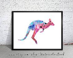 Kangaroo 3 Watercolor Print, watercolor painting, watercolor art, Illustration,home decor wall art, watercolor animal, kangaroo poster      Buy