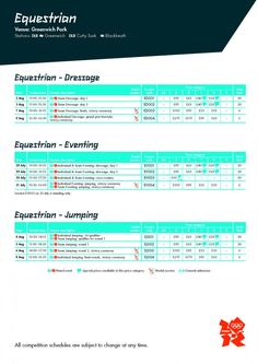 Equestrian Schedule for London 2012