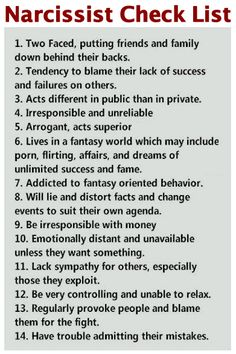 Causes of Narcissistic in Women | narcchecklist1.jpg