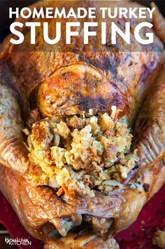How to make homemade stuffing recipe. This turkey stuffing recipe is delicious. It's my family's classic homemade stuffing recipe. Serve it at Thanksgiving, Christmas dinner, and Easter. Homemade Turkey Stuffing, Stuffing Recipes For Thanksgiving, Thanksgiving Side Dishes, Holiday Recipes, Turkey With Stuffing, Turkey Stuffing Recipes Thanksgiving, How To Make Stuffing, Italian Thanksgiving, Thanksgiving Dinners