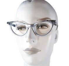 24da98e83e4d Vintage 50s Cateye Glasses, Metallic Silver Frames, Cat Eye Eyeglasses by  Art Craft 4-1/2 5-1/2