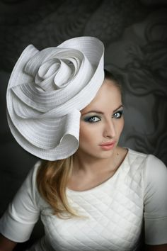 Big white hat fantastic form | Wedding Hats by Anna Mikhaylova, via Behance