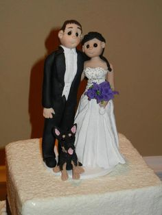 Bride and Groom with Pet Wedding Cake by lynnslittlecreations, $30.00
