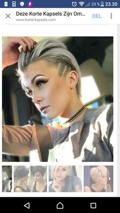 Greatest Hairstyles for Skinny Hair with fantastic skinny hair usually have bother discovering a coiffure that works as a result of their hair simply gained't settle correctly wit Undercut Hairstyles, Pixie Hairstyles, Pixie Haircut, Pretty Hairstyles, Undercut Pixie, Haircuts, Side Undercut, Short Hair Cuts, Short Hair Styles