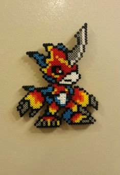 Flamedramon - Digimon perler beads by wxrchief