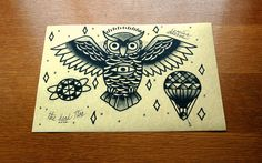 BLACK OWL tattoo flash-second edition of traditional tattoo flash. $6.00, via Etsy.