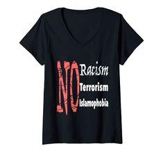 Womens No Racism, No Terrorism, No Islamophobia V-Neck T-Shirt MUGAMBO