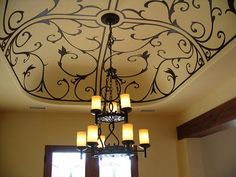 something similar in our bedroom tray ceiling - rod iron art