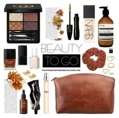 """""""Beauty on the Go!"""" by palmtreesandpompoms ❤ liked on Polyvore featuring beauty, Maxwell Scott Bags, Jurlique, Aesop, Gucci, NARS Cosmetics, Lancôme, Kenzo, Butter London and Chloé"""