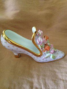 Porcelain Shoe Limoges Ceramic Shoes, Glass Ceramic, Cute Shoes, Me Too Shoes, The Potter's Hand, Victorian Shoes, Glass Shoes, Floral Shoes, Decorated Shoes