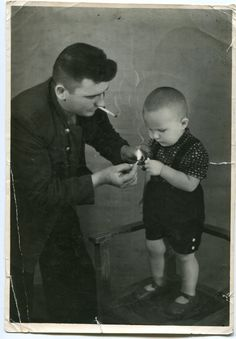 RARE! Little boy smoking the pipe, father teaching - real photo from family album! Russia 1940's ORIGINAL vintage photo LARGE by PhotoMemoriesLane on Etsy