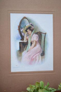 Antique Picture – Vintage Copy of Watercolor Art  – Victorian Lady's Picture – Vintage Copy of Original Art Work