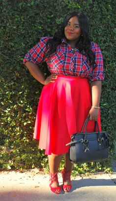 plaid outfit, plus size fashion, fashion blogger, full skirt, long hair, fall outfit, Musings of a Curvy Lady