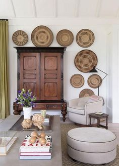 via  We are currently loving any accessories that add texture and warmth to a space. Enter gathering baskets. We just love how they look clustered on a wall as