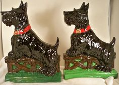 Bookends-SCOTTISH TERRIER-1940s-COLORFUL-WONDERFUL BREED FIGURES-VINTAGE!!